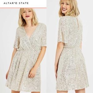 ALTAR'D STATE SEQUIN GALENA DRESS CHAMPAGNE SMALL